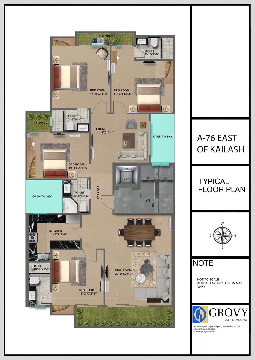 A-76, East of Kailash Typical Floor Plan