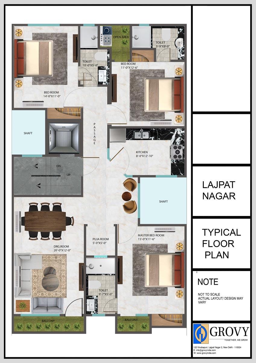 I-6, Lajpat-Nagar Typical Floor Plan